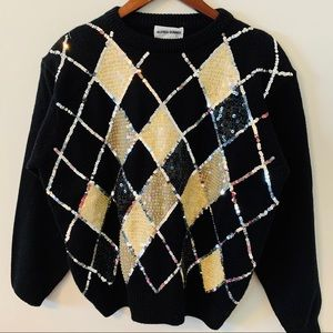 🤑2/$20 Alfred Dunner Diamond check Sweater L